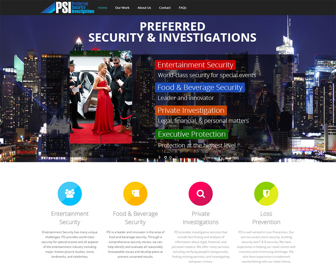 Preferred Security and Investigations Web Design